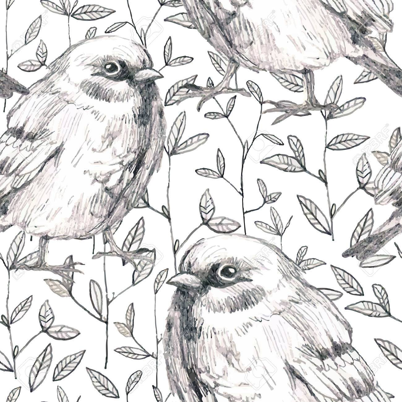 1300x1300 Pencil Sketch Seamless Pattern With Flowers And Bird Sparrow