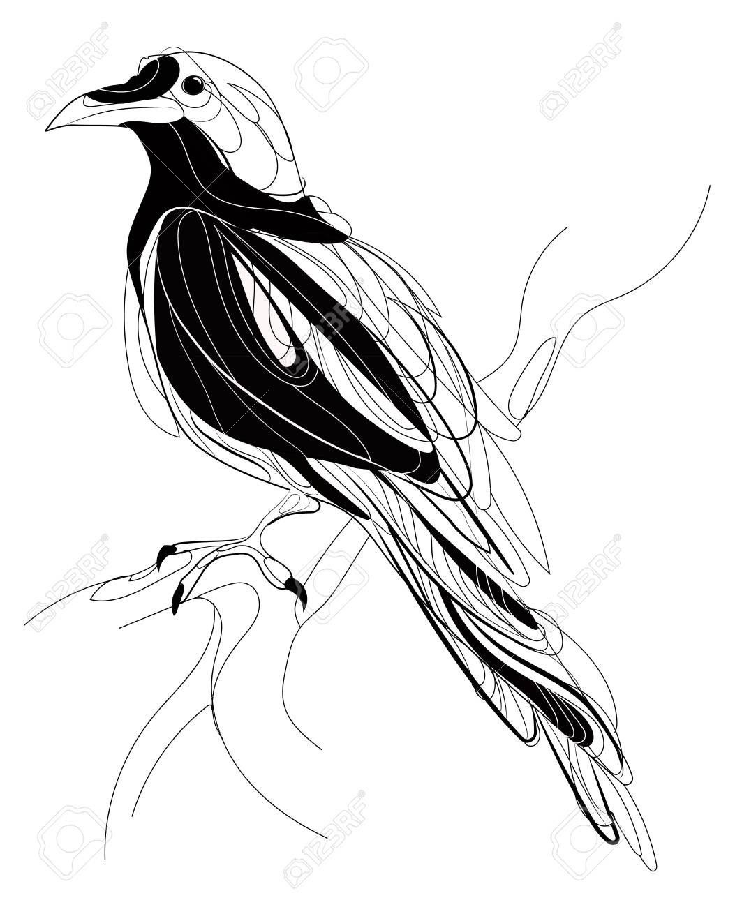 1053x1300 A Crow Sitting On A Branch. Stylized Magpie On A Tree. Black