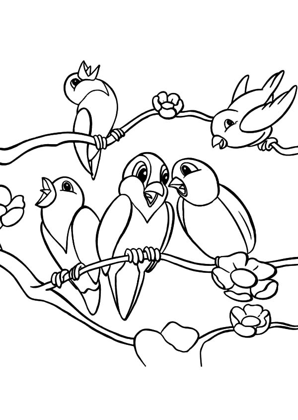 600x845 Love Birds Coloring Page Kids Drawing And Pages