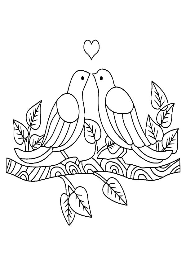 600x848 Two Love Birds Falling In Love Coloring Pages Batch Coloring