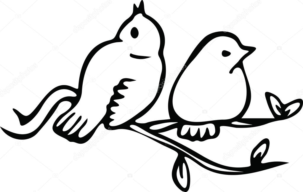 1023x648 Two Little Birds Sitting On A Branch Stock Vector Prawny