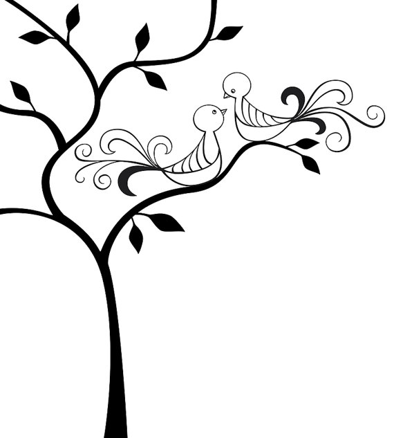 570x633 Vector Illustration Of 2 Love Birds Sitting In A Tree Instant