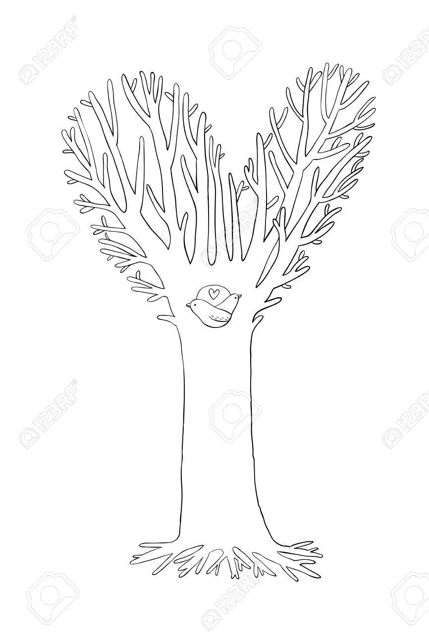 866x1300 Magic Tree. Two Little Birds In The Hollow. Hand Drawing Isolated