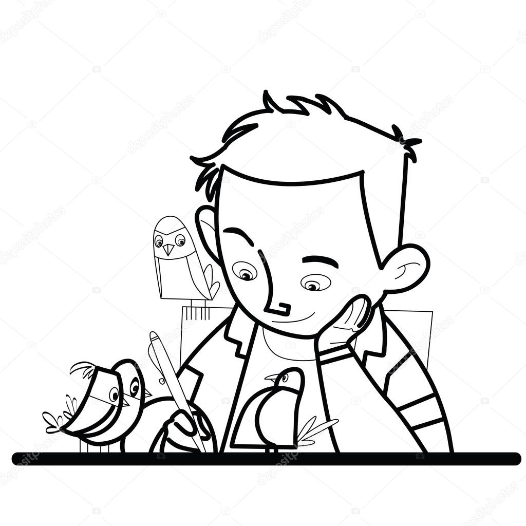 1024x1024 Boy Writes Bird Watching Stock Vector