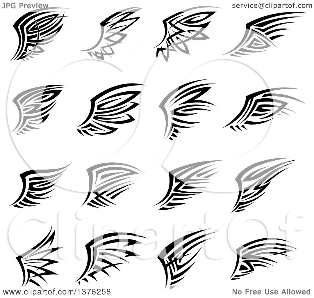 1080x1024 Clipart Of Black And White Tribal Angel Or Bird Wings