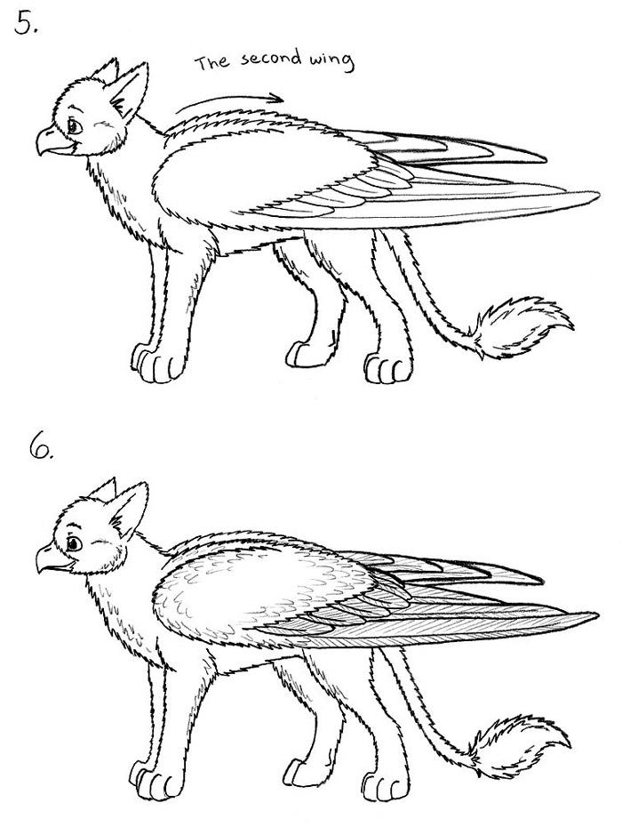 700x930 Folded Bird Wings Drawing