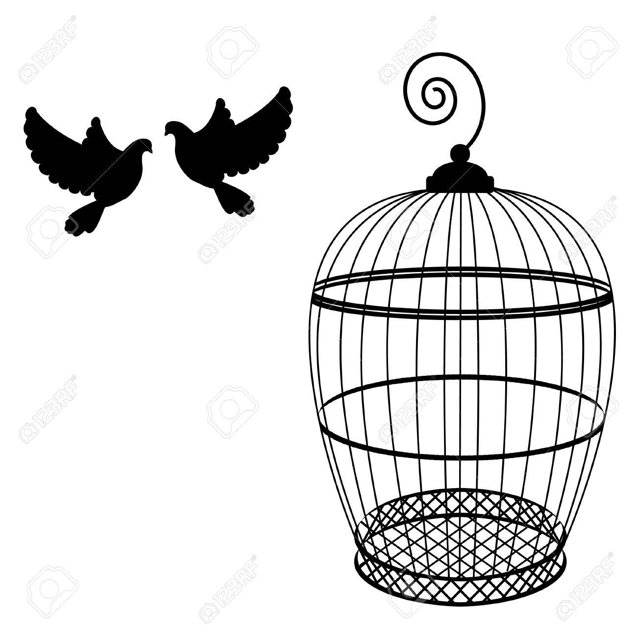 1300x1300 Birdcage And Two Pigeon Raster Isolated, Bird Cage Silhouette