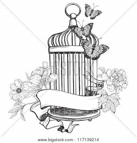 450x470 Birdcage Images, Illustrations, Vectors