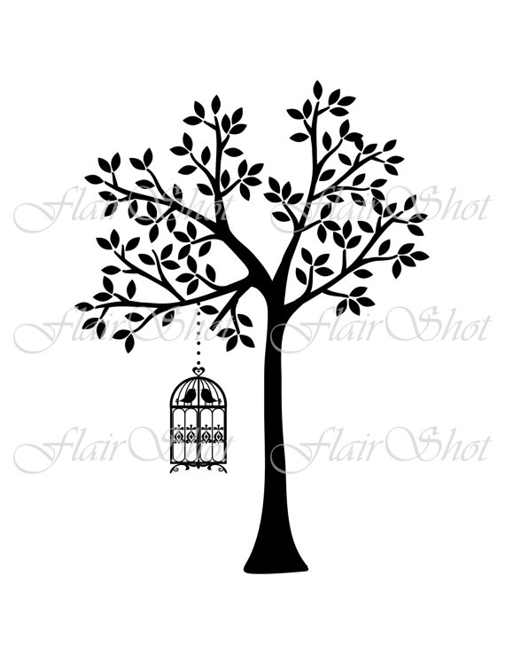 570x738 Digital Tree Clip Art, Vector Tree And Bird Cage Clipart