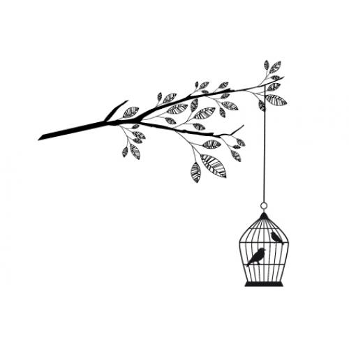 500x500 Drawn Birdcage Branch Design