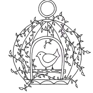 300x300 Four Bird Cage Hanging With Chains Coloring Pages Best Place