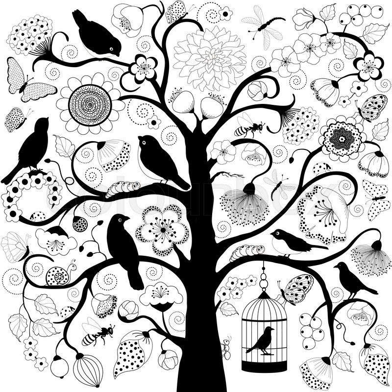 800x800 Tree With Flowers And Birds And Bird Cage Hanging From Branch