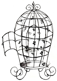 200x285 Vintage Birdcage Drawing