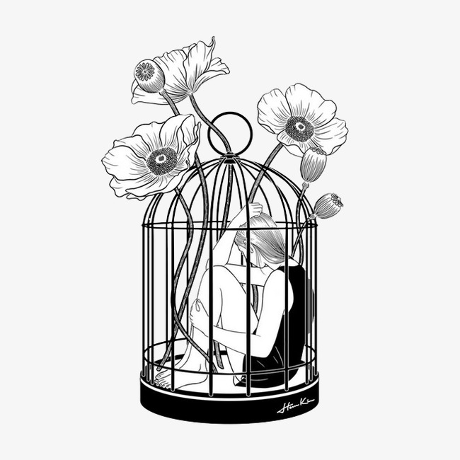 650x650 Birdcage, Black, Cage, Flowers Png Image For Free Download