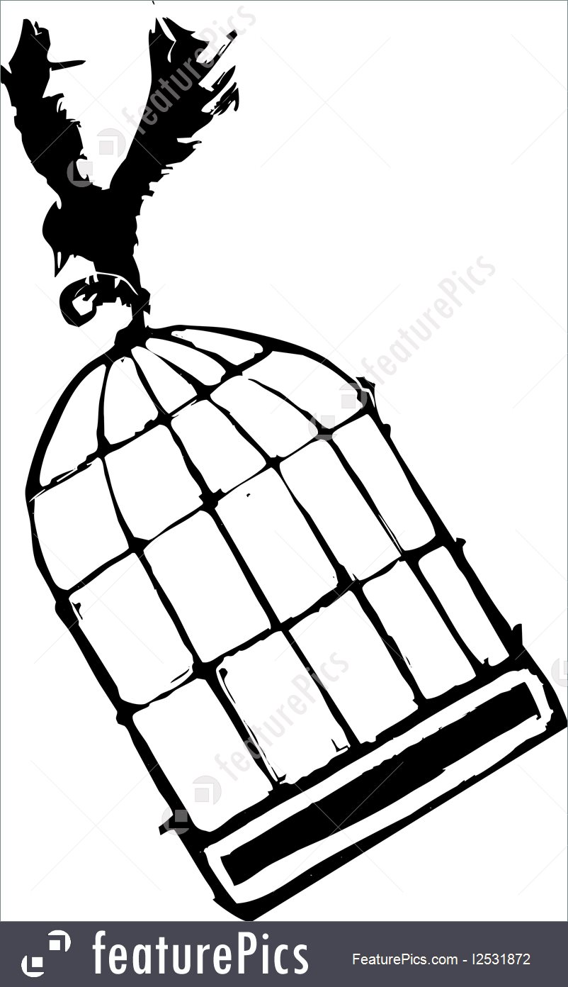 802x1392 Bird Carrying Birdcage Illustration