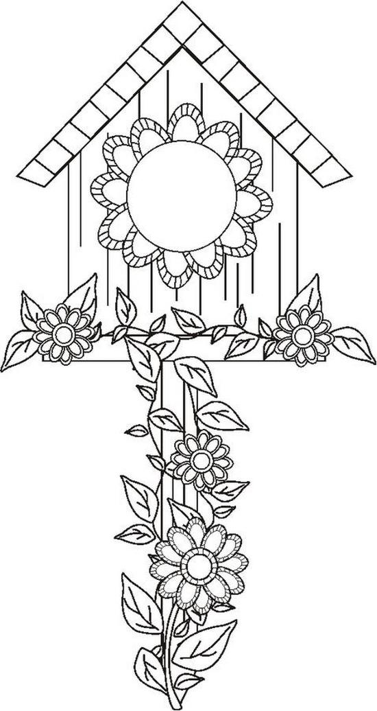 550x1036 Birdhouse Coloring Page Many Interesting Cliparts