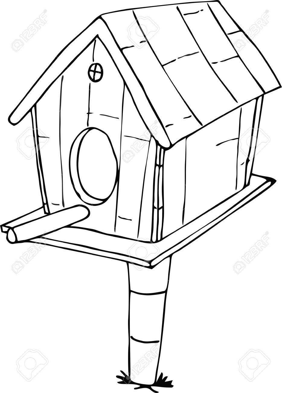934x1300 Drawn Doodle Style Bird House Cartoon Royalty Free Cliparts