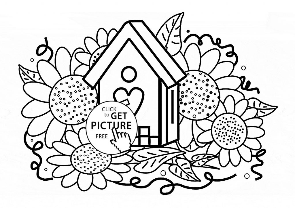 1024x723 Free Coloring Pages Bird Houses New Birdhouse Coloring Page Cute