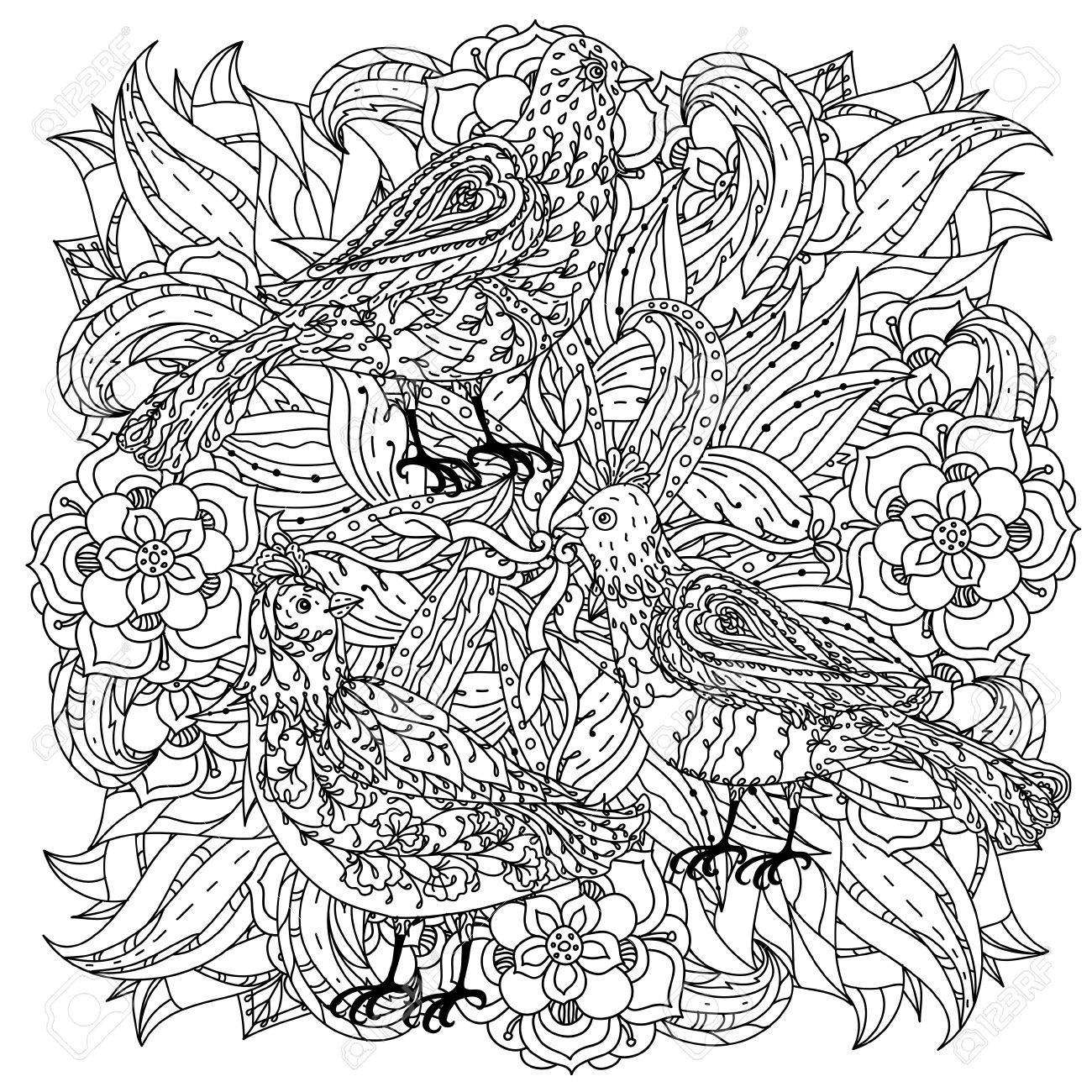 1300x1300 Contoured Mandala Shape Flowers And Birds For Adult Coloring Book