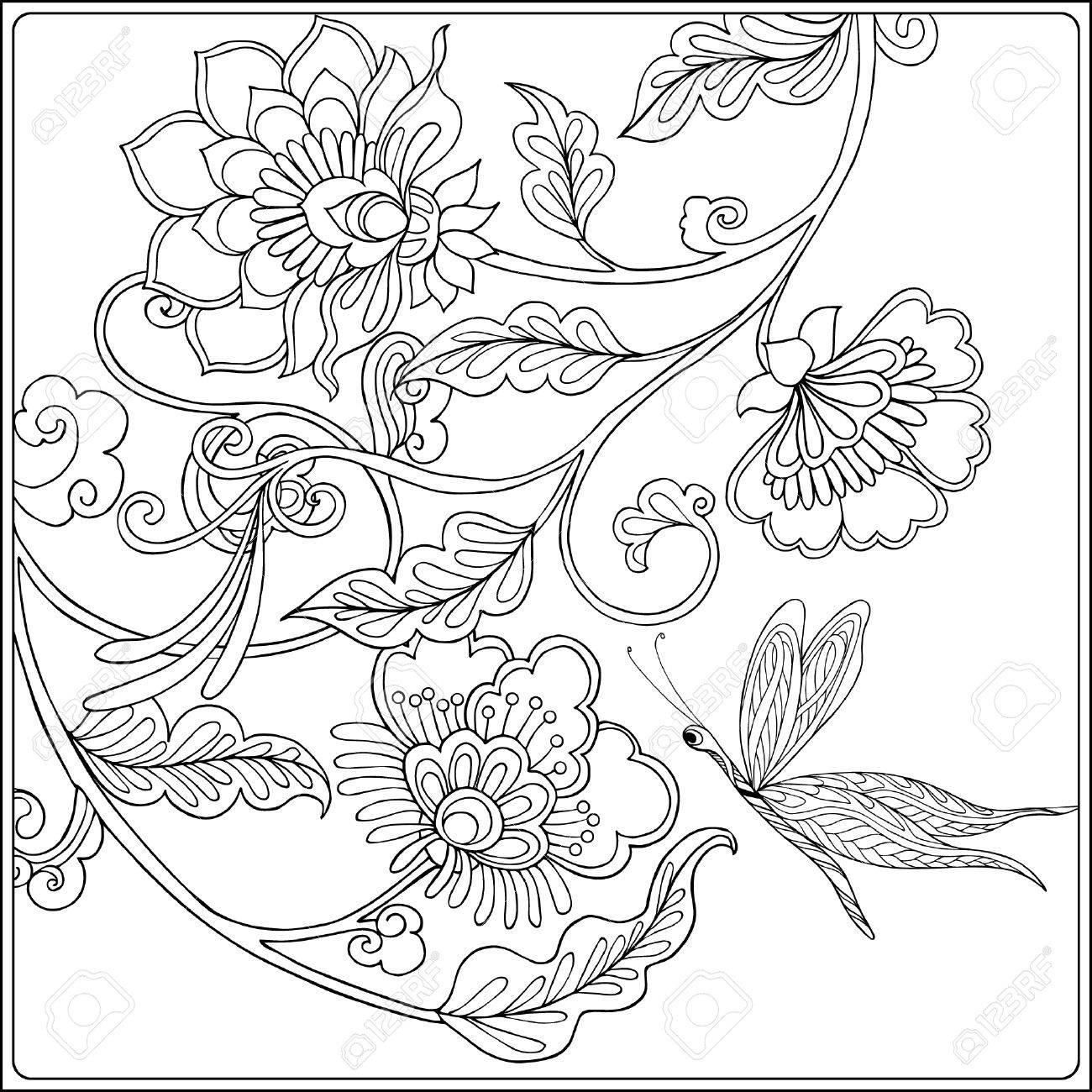 1300x1300 Decorative Flowers, Birds And Butterflies. Coloring Book