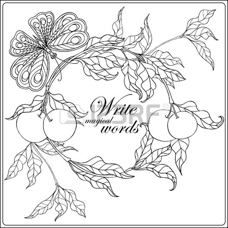 450x450 Decorative Flowers And Bird. Coloring Book For Adult And Older