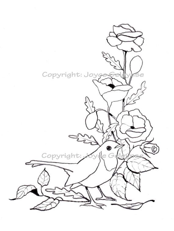 570x756 Hand Drawn Stamp, Clip Art, Embroidery Design, English Robin, Bird