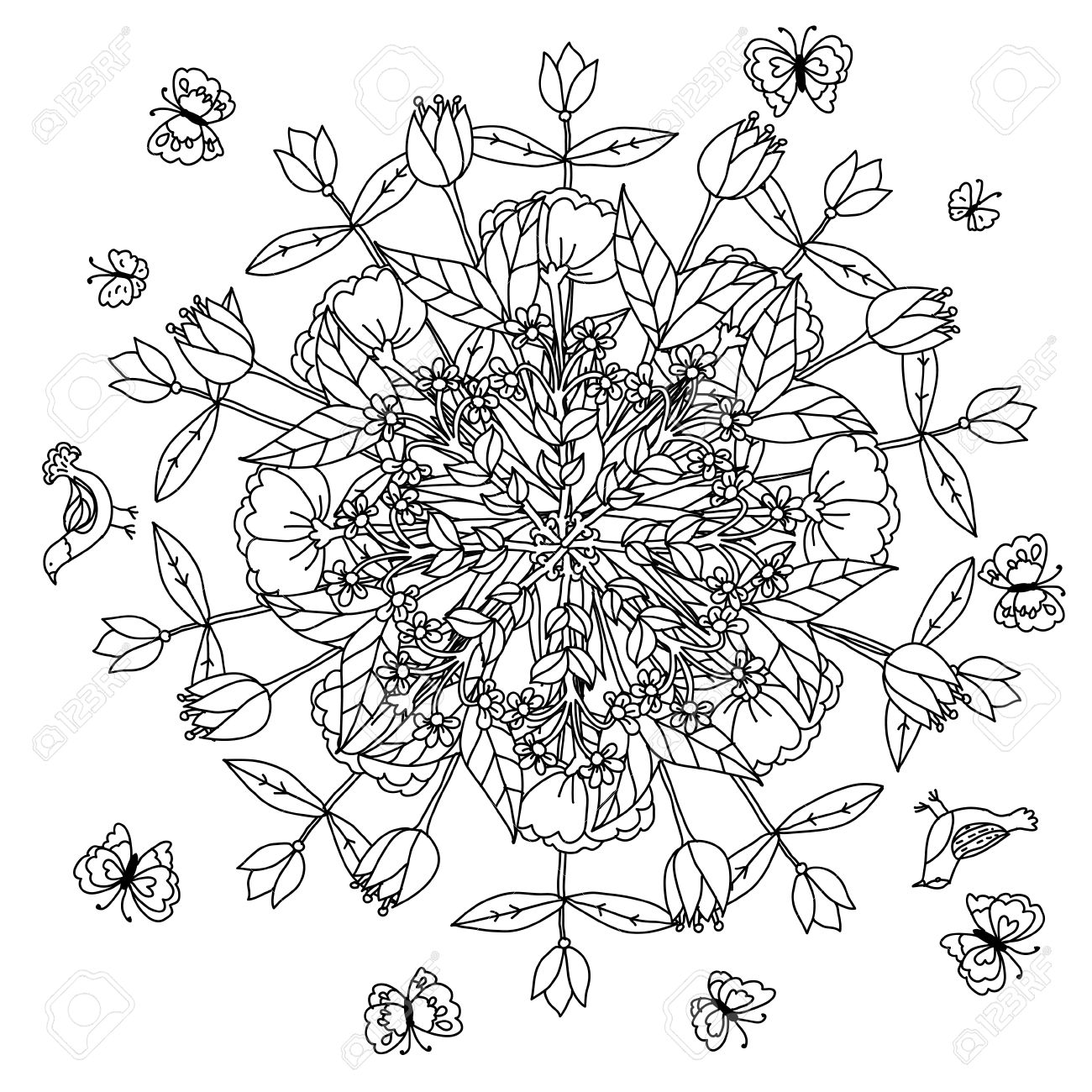 1300x1300 Mandala Shaped Contoured Flowers, Leaves And Birds For Adult
