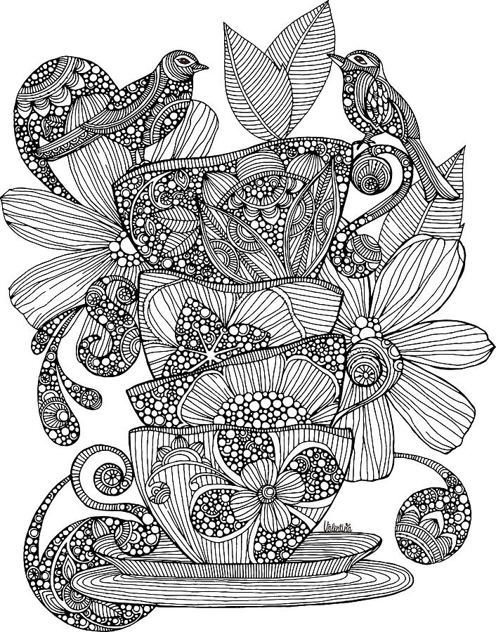 706x900 Teacups, Birds And Flowers Drawing By Valentina Harper