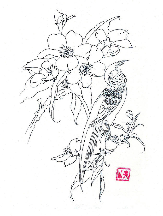 680x900 Bird And Flowers Drawing By Michael Vigliotti