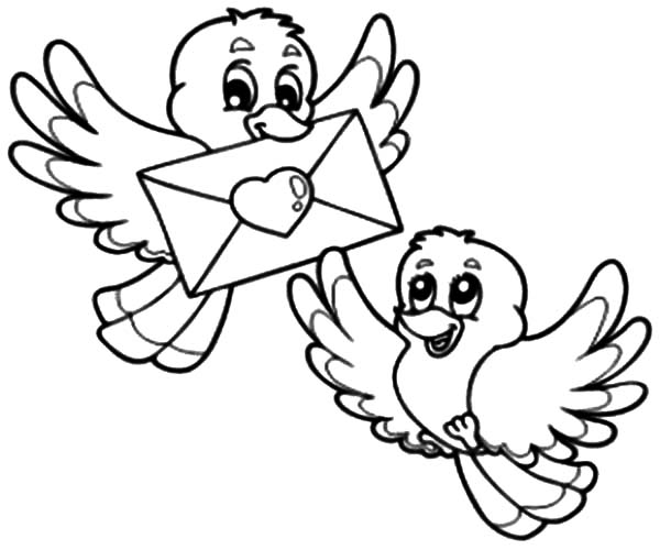 600x500 Two Birds Deliver Love Letter Coloring Pages Batch