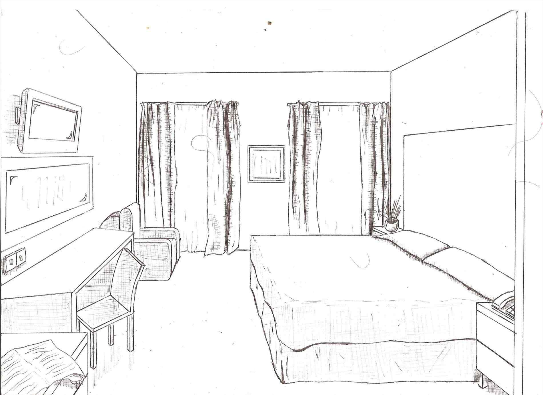 1900x1381 Bedroom Design Draw Room One Point Perspective Birds Eye View