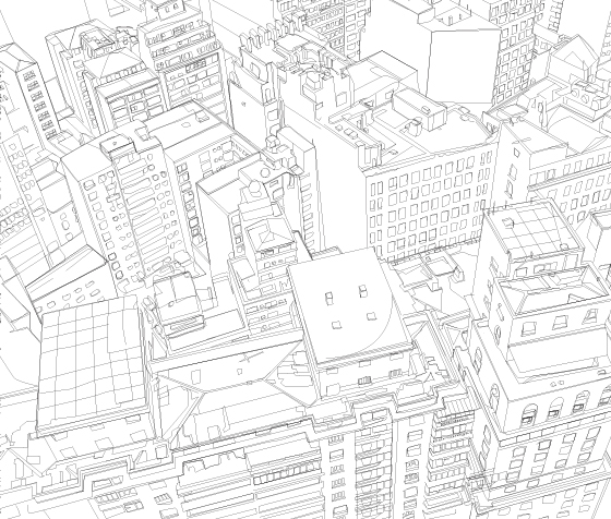 560x476 Line Art City Birds Eye Busilding View Daniel Alexander Maps