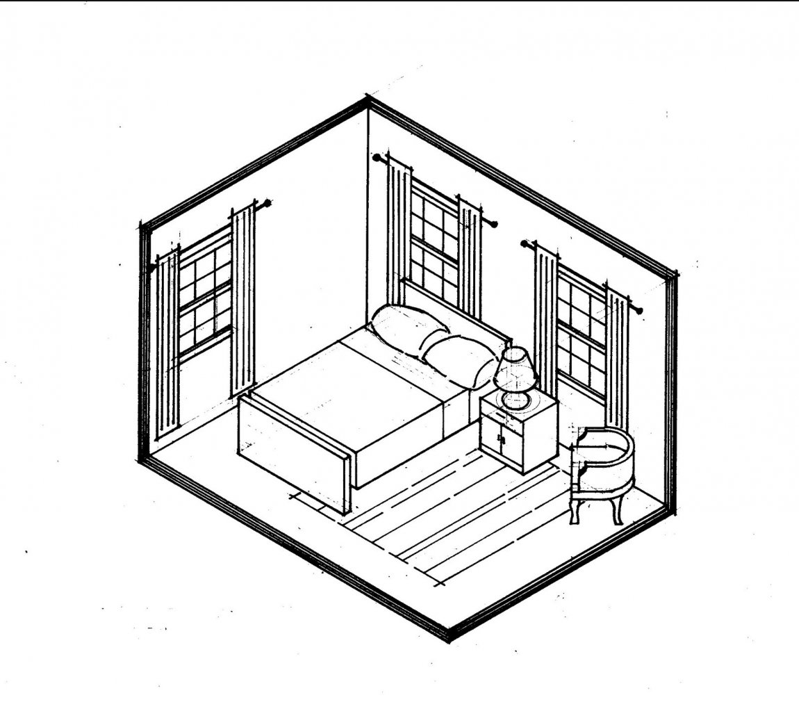 1150x1030 One Point Perspective Bedroom Drawing Buildings In Rooms By Source