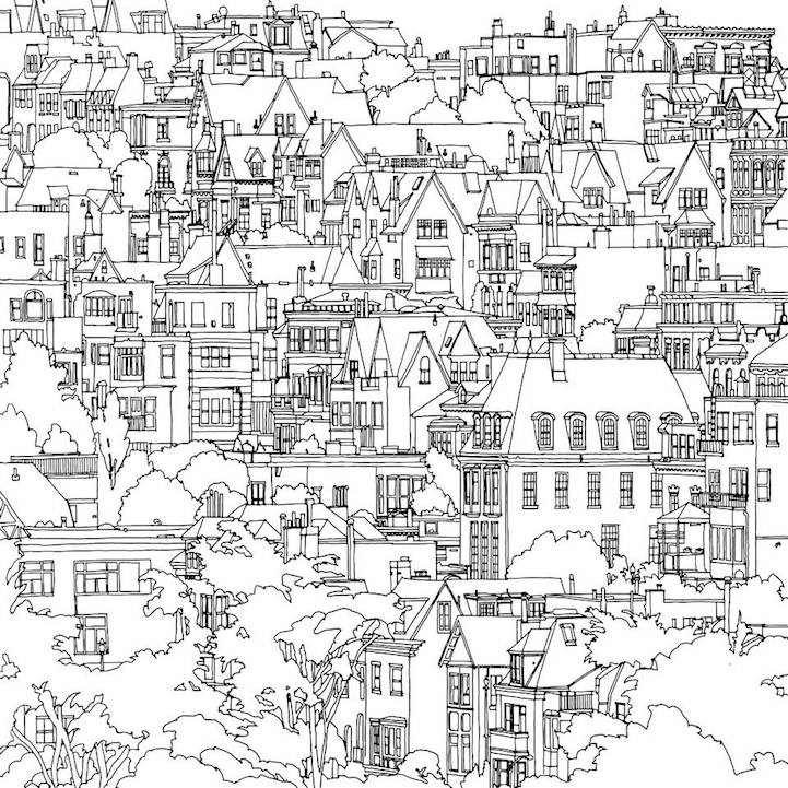 721x721 Fantastic Cities An Exquisite Architectural Coloring Book