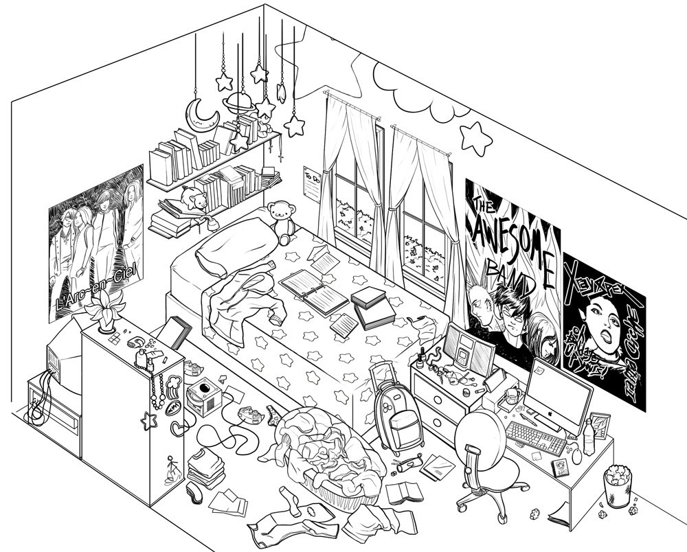1000x804 One Point Perspective Art How To Bedroom Kitchen View Wall Drawing