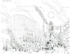 236x182 San Francisco Birds Eye View Red Sun' Ink Drawing Prints