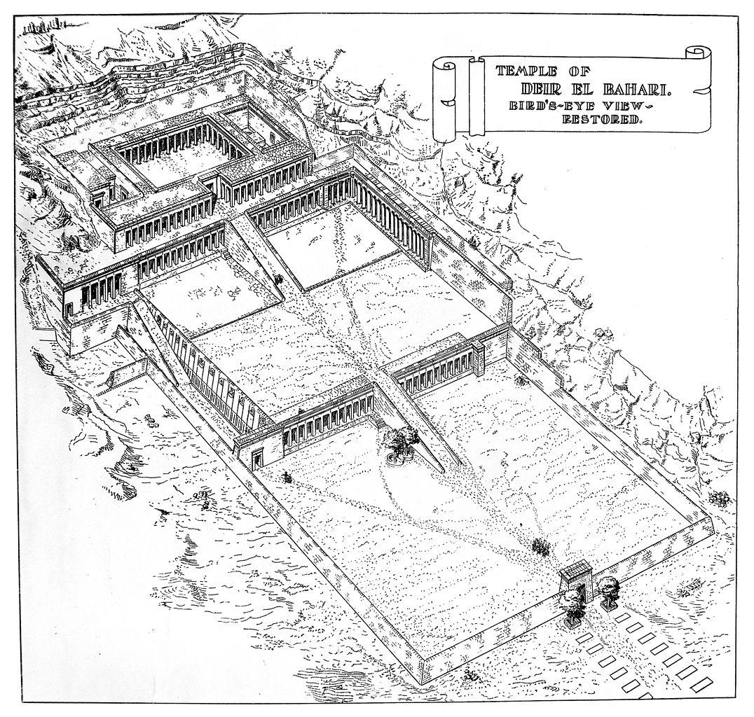 1076x1024 Filebirds Eye View Of Restored Temple Of Deir El Bahari Wellcome