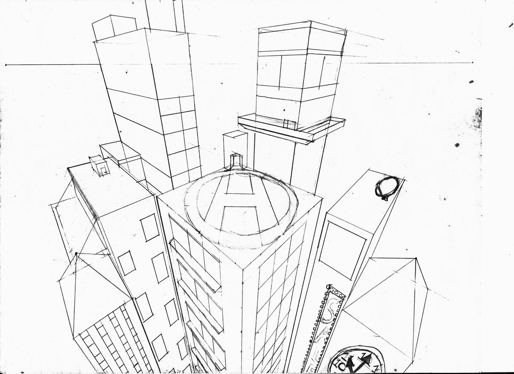 1024x745 3 Point Perspective Drawing Birds Eye View