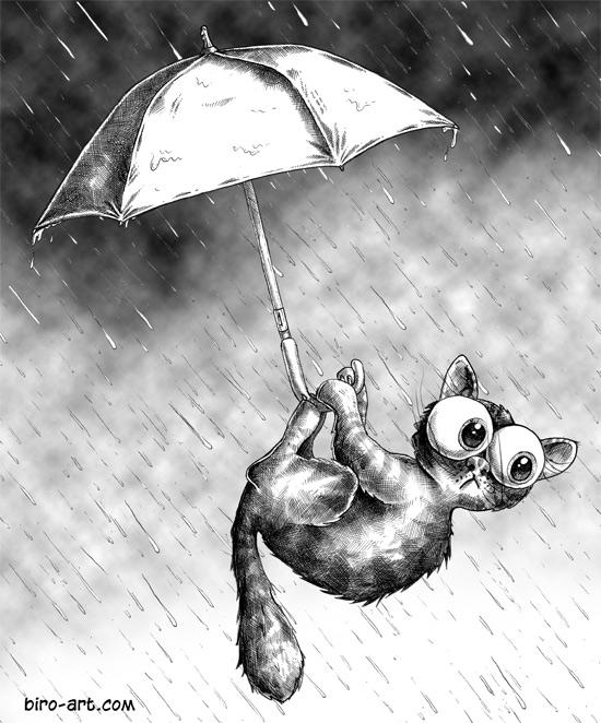 550x662 Raining Cat Biro Art