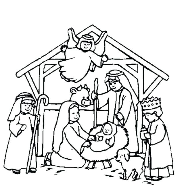 640x647 Coloring Page Nativity Nativity Coloring Pages Birth Of Printable