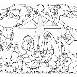 300x300 jesus birth nativity drawing merry christmas amp happy new year arts