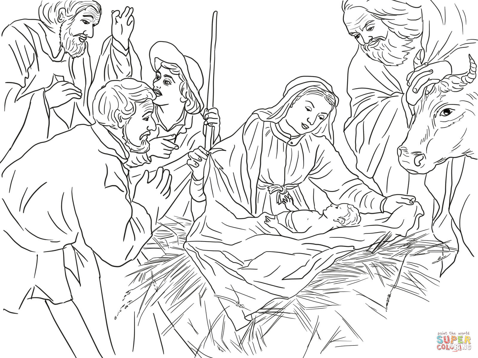 1600x1200 Jesus Nativity Coloring Pages Free