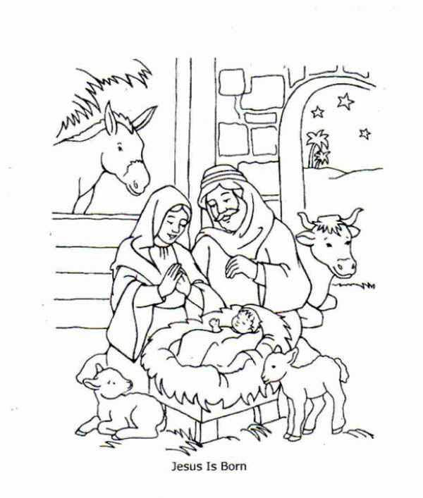 600x707 Birth Of Jesus Coloring Pages Free Jesus Is Born And Jesus Love Me