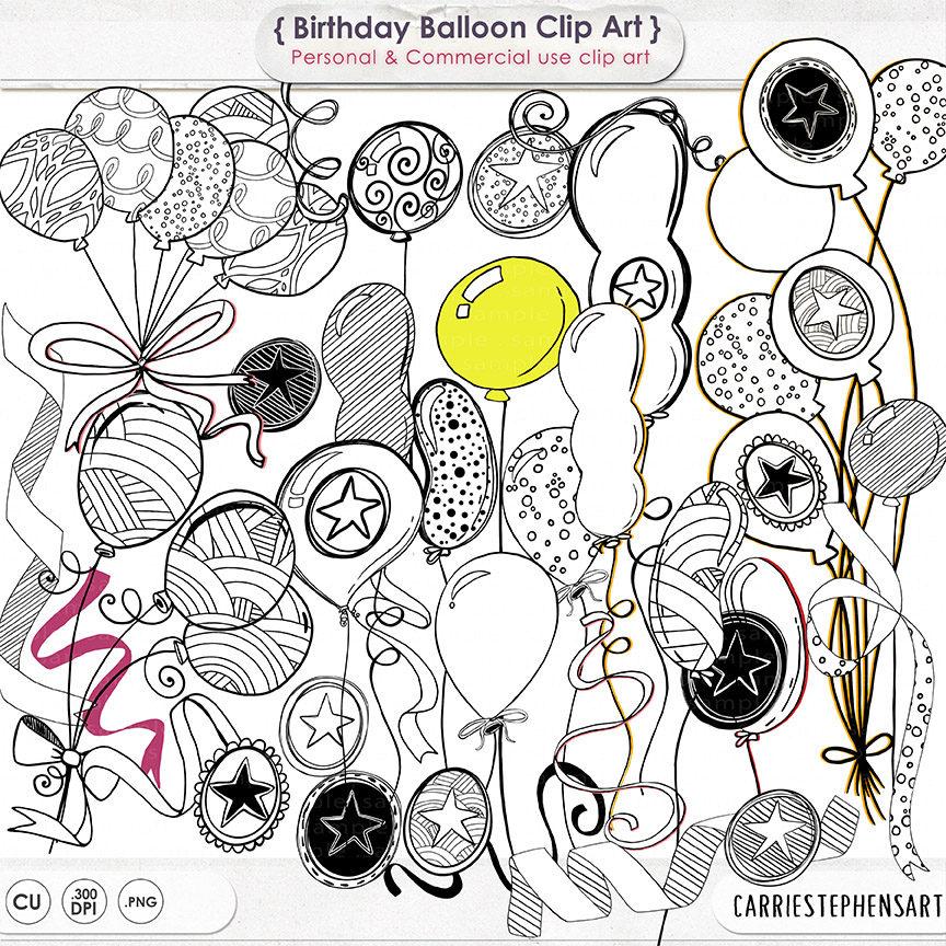 864x864 Birthday Balloons Clipart Birthday Party Line Art
