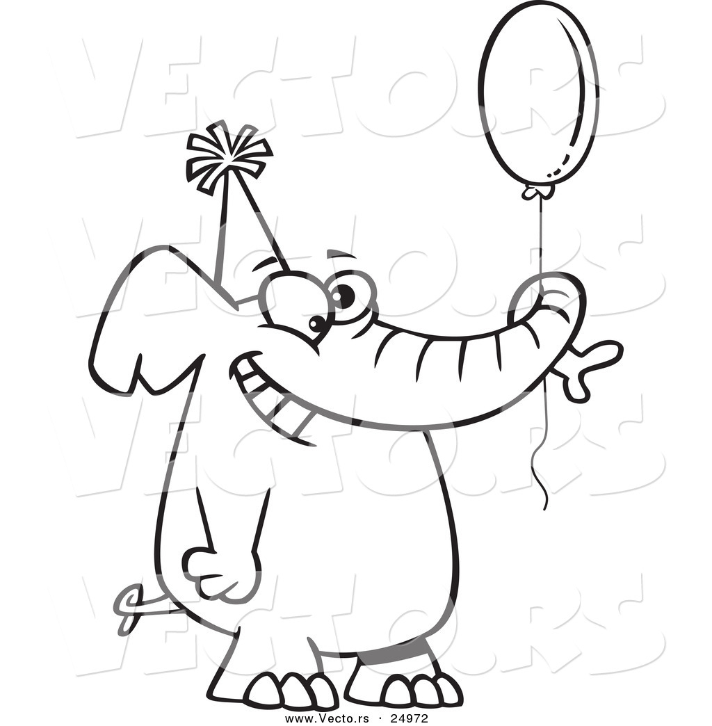 Balloons Coloring Pages Birthday Cake Happy 1024x1044 Cartoon Drawings Vector Of A