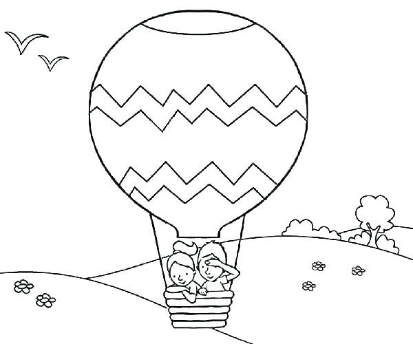 600x500 Coloring Pages Of Balloons Pin Drawn Hot Air Balloon Colouring