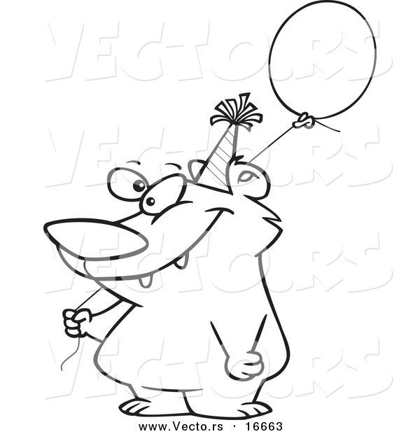 600x620 Vector Of A Cartoon Birthday Bear Holding A Balloon