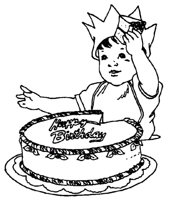 600x682 Birthday Cake And Balloons Coloring Pages