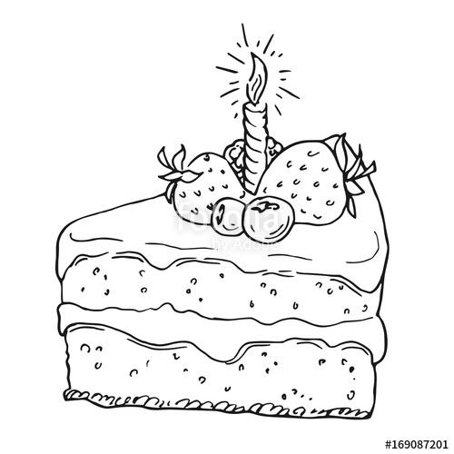 500x500 Hand Drawn Birthday Cake, Black And White Draft Sketch Isolated