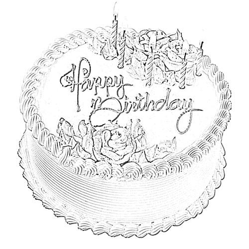 500x500 Happy Birthday Cake Sketch